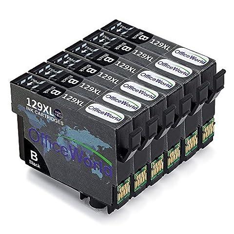 OfficeWorld Remplacer pour Epson T1291 Noir Cartouches d'encre Compatible pour Epson Stylus Office B42wd, BX306 FW+, BX320FW, BX525WD, BX535wd, BX625FWD, BX630fw, BX635FWD, BX925FWD, BX935fwd, Stylus SX235W, SX420W, SX425W, SX430W, SX435W, SX438W, SX440W, SX445W, SX445we, SX525WD, SX535WD, SX620FW, Workforce WF-3010DW, WF-3520DWF, WF-3530DTWF, WF-3540DTWF, WF-7015, WF-7515, WF-7525, Paquet de 6