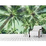 YShasaG Seidenwandbild Tapete für Wände 3D Kokosnuss-Baum-Palme-Foto-Wandgemälde prägte Fernsehhintergrund-Küchen-Studien-Schlafzimmer,368cm*254cm