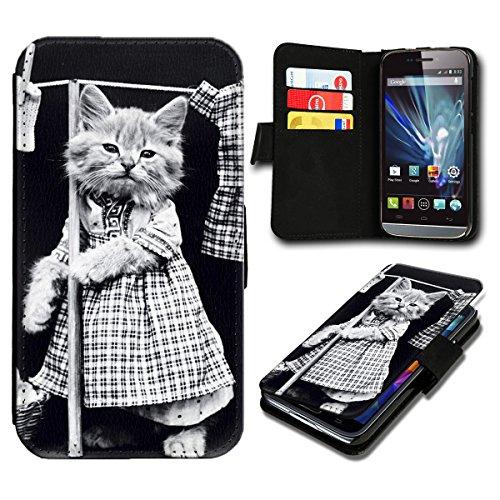 Book Style Wiko Fizz Premium PU-Leder Tasche Flip Brieftasche Handy Hülle mit Kartenfächer für Wiko Fizz - Design Flip SB777