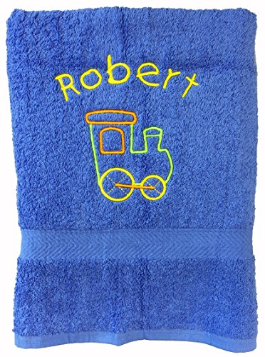 spoilt-rotten-kids-luxury-ocean-blue-with-train-personalised-bath-towel-vibrant-steam-train-any-name