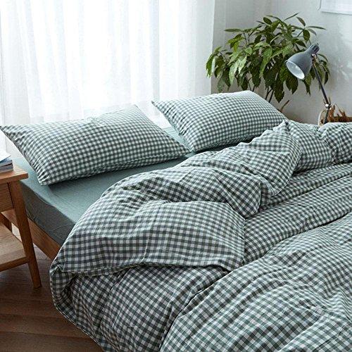 BEIZI Streifen Baumwolle einfache bettwäsche Set blau und weiß Gitter Duvet Set Schlafzimmer Set 4 stücke, 008