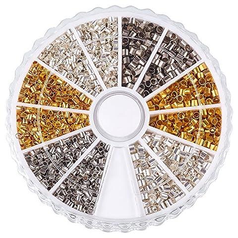 PandaHall Elite 1 Small Box 3 Mixed Color Brass Tube Crimp Beads, 1.5~2x1.5~2mm Hole: 1~1.5mm