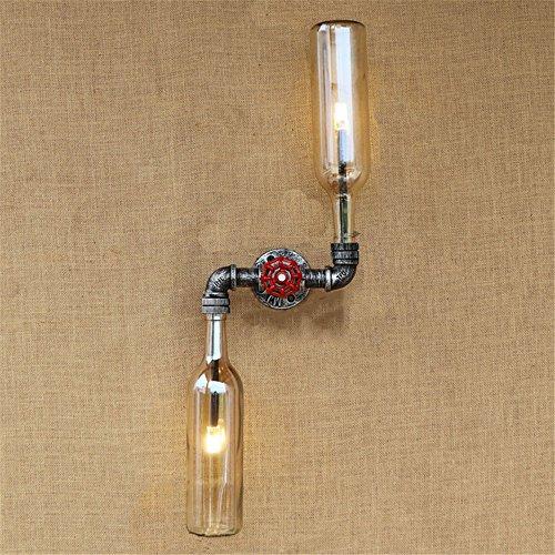 Lightoray E27 Wandleuchten Vintage iron LOFT Rohr Wein Flaschen Farbe Amber Wandleuchte für Wohnzimmer Badezimmer Schlafzimmer Bar Flur Balkon - Wein Rohr