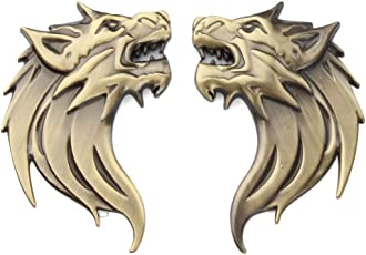 S2S 3D Metal Wolf Head Both Side Car & Bike Sticker Decals With Double Side Sticker