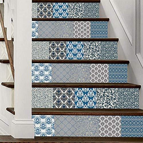 Ymwlke adesivi murali adesivi per scale corridor scale adesivo impermeabile stile blu e grigio stampa stile damasco by