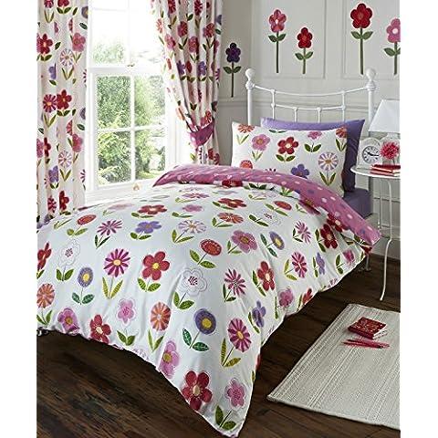 Kidz Club Floral Niñas edredón de funda de edredón y funda de almohada juego de ropa de cama, color rosa y blanco, Single