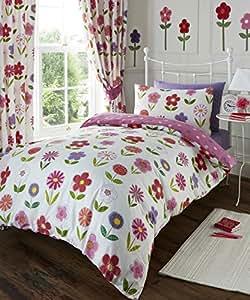 Floreale rosa bianco ragazze doppio trapunta copripiumino - Amazon biancheria letto ...