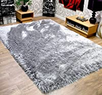 Very Thick 9cm Soft Touch Silver Grey Shaggy Shag Pile Extra Large Quality Modern Rug 120 x 160 cm by 9cm Shaggy