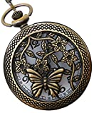#8: LMP3Creation Classic Vintage Retro Antique Bronze Finish Lovely Skeleton Hollow Butterfly With Flower Pocket Watch With Chain (POW-0211)
