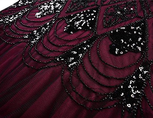PrettyGuide Damen Abendkleider 1920er Flapper Paillette Lange Meerjungfrau Ballkleid Burgund