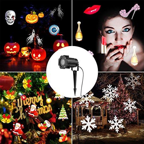 LED Projektor Licht, A0ZBZ Landschaftsprojektor Lampe 12pcs Muster IP65 imprägniern Innen im Freienprojektor Scheinwerfer für Weihnachten Halloween Dekoration im Freiengarten (Scheinwerfer-halloween-dekoration)