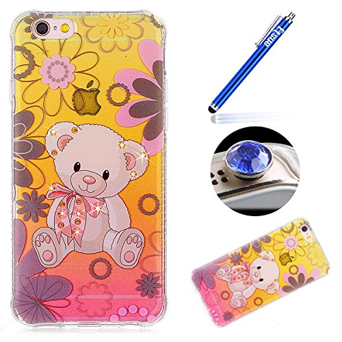 iPhone 6S Custodia Diamante Bling,iPhone 6 Cover in Silicone,Etsue 2017 Neo Disegni Donna Ragazza Cristallo Bling Scintillante Diamante Bella Elegante Romantico Rose Floreale Modello Trasparente Fless orso
