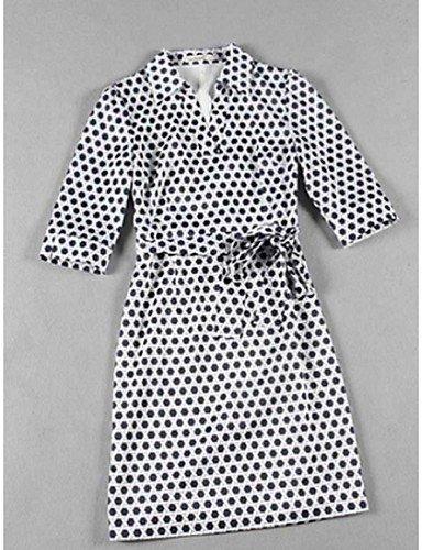 PU&PU Robe Aux femmes Gaine Street Chic,Imprimé Col en V Au dessus du genou Polyester BLACK-L