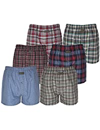 6 Pairs Mens Boxer Shorts Woven Cotton Rich Underwear Sizes S to 2XL