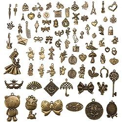 Jeteven 80 Stücke Retro alt Bronze Anhaenger dekor Schluessel Schmuck Anhaenger Deko Fuer Halskette Kette,Bronze Basteln,süßes bildender Künst