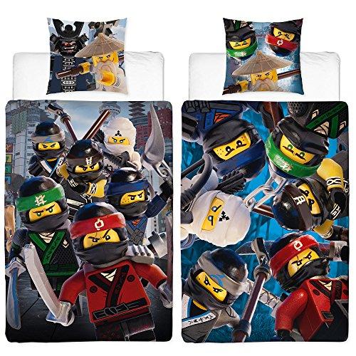 Lego Ninjago Kinder-Bettwäsche Movie Battle - 135x200 cm + 80x80 cm - 100% Baumwolle Linon - Cole - Jay - Kai - Lloyd - Zane - Nya - Misako - Sensei Wu - Renforcé - deutsche Größe - Wende-Motiv (Movie-cars Dvd)