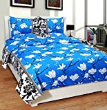 #2: Homefab India 140 TC Polycotton Double Bedsheet with 2 Pillow Covers - Floral, Blue