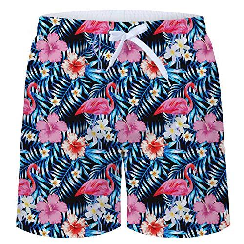 TUONROAD Herren Badeshorts Roter Flamingo 3D Druck Badehose Multi Bunt Blumen Muster Beach Shorts Schnelltrocknend Sommer Schwimmhose Leicht Boardshorts Männer Shorts mit Mesh-Futter -M Flamingo-muster