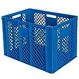 2x Stapelkorb / Bäckerkiste, LxBxH 600 x 400 x 410 mm, 83 Liter, lebensmittelecht, Wände und Boden durchbrochen, blau