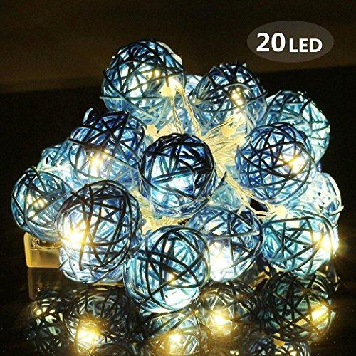 Stringa luci led, morbuy 2m luce decorativa 20 led luci stringa batteria catena luminosa sfera batuffolo di 4cm palla luci della stringa luce ghirlanda catene luminose ideale per addobbi festa natale matrimonio (blu)