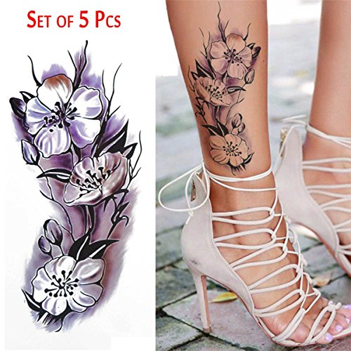 COKOHAPPY Temporäre Tattoo 5 Blätter Aquarellfarben Blume Long Lasting Flash Tattoo Körper Art