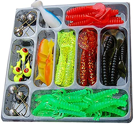 JOYOOO Soft bait fishing lure set 35pcs soft +10pc jig head Soft plastic lure hook bait sea fishing artificial lures