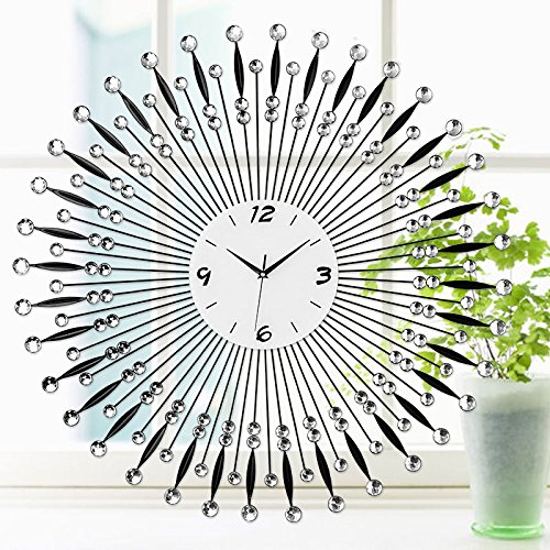ZHUNSHI Einfach Eisen ultra-leise Uhren Wand Uhr moderne Wohnzimmer Stil Wanduhr Jugendstil,Schwarze...