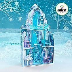 KidKraft 65881 Maison de poupées en bois Disney® Château la Reine des Neiges incluant accessoires et mobilier, 3 étages de jeu pour poupées 30 cm