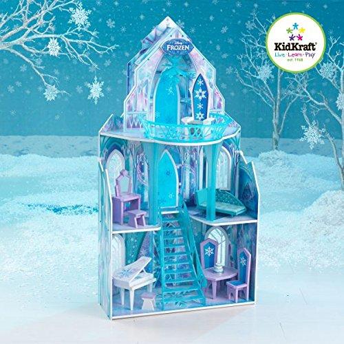 KidKraft 65881 Disney Frozen - Die Eiskönigin Elsa Ice Castle Puppenhaus Schloss mit Zubehör aus Holz für 30cm große Puppen mit 11 Accessoires und 3 Spielebenen