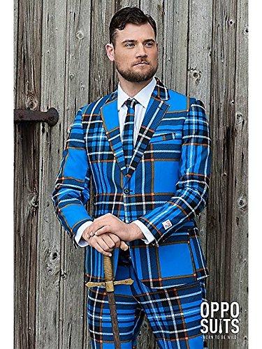 Braveheart Schottland Anzug Karo Muster Opposuit Slimline Premium 3-teilig Gr. (Kostüm Braveheart Kinder)