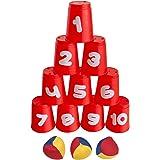 Idena 40416 Bollkastningsspel med 10 Koppar och 3 Bollar, Flerfärgad