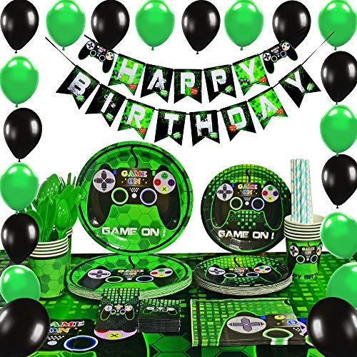 zubehör Set - Spiel Party Deko Jungs Geburtstag Party Favors Besteckbeutel Tischtuch Servietten Teller Tassen Utensilien Banner & Ballons Strohhalme Band 16 Gäste 169 Stück ()