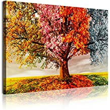 DekoArte 337 - Cuadro moderno en lienzo 1 pieza paisaje en árbol cuatro estaciones, 120x3x80cm