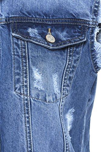 SS7 Femmes surdimensionné Jeans Vieilli Veste Gilet, Tailles 8 à 14 Jean Bleu