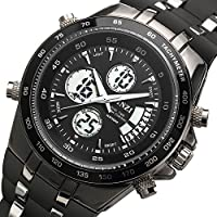 BINZI da polso da uomo da sportivo Orologio digitale da quarzo di lusso di lusso a LED con orologi sveglia di sveglia della fascia del silicone Orologio analogico multifunzionale di cronografo