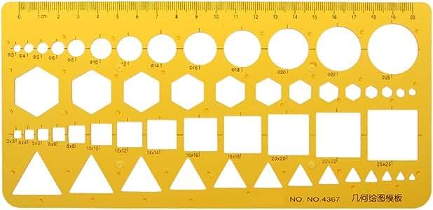 Gelbe Plastikgeometrie Zeichnungs Schablonen Machthaber Schablonen