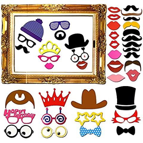Goodlucky365 60 Piezas DIY Photo Booth Props Cabina de Fotos Accesorios Máscara Gafas Labios Rojos Corbatas Sombreros Photocall Para Fiesta Mascarada Bodas Marco de Fotos Fiesta Favor Graduación
