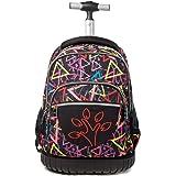 Trolley School Bag 18Inch Kids Rolling Backpack Digital Pattern Functional Laptop Rucksack Travel Wheeled Luggage, B