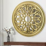 Homesake Round Floral Carved Wooden Wall Mirror, Royal Antique Vintage Mirror, Classic Gold