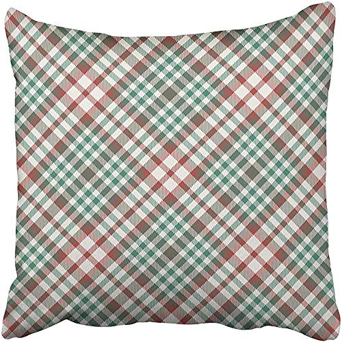 ssenbezug, Cases Decorative 18x18 Inch Green Vintage Christmas Plaid Red Preppy Check Classic Diagonal Diamond Festive Two Sides Print Pillowcase Case Cushion Cover ()