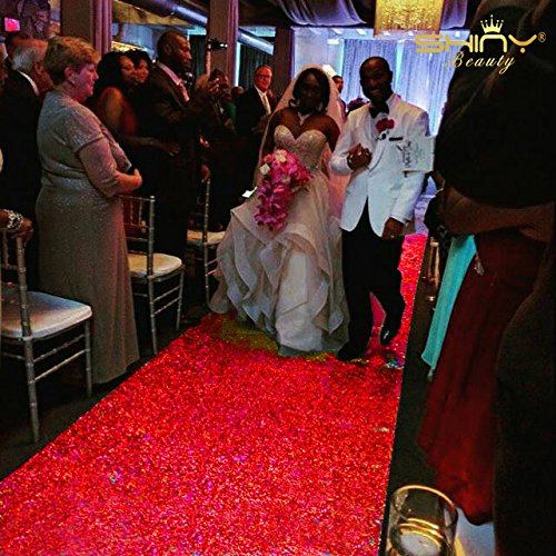 ShinyBeauty 3 ftx15ft-aisle Runner Wedding-Gold Sparkly Teppich Läufer für Hochzeit/Weihnachten/Thanksgiving Decor (90 x 450 cm), rot, 3FTX15FT