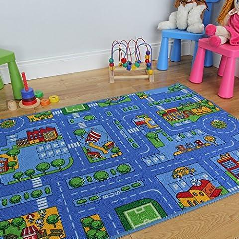 Tapis de jeu enfant bleu - Ville, Rues, Circuit de Route - 3 Tailles disponibles