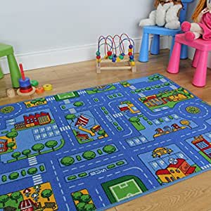 tapis de jeu enfant bleu ville rues circuit de route 3 tailles disponibles. Black Bedroom Furniture Sets. Home Design Ideas