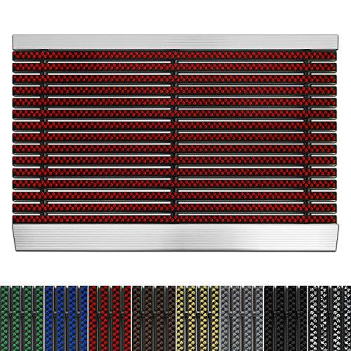 etm Fußmatte mit Aluminium Rahmen für außen | Elegante Alumatte mit robusten Bürsten wetterfest | 3 Größen (60 x 90cm Rot)