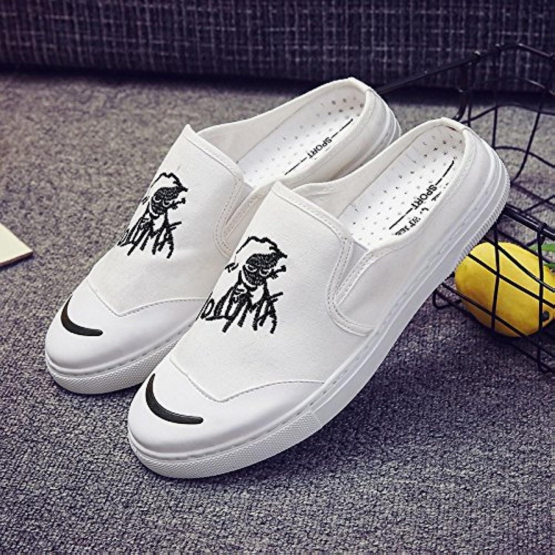 JIA HONG Nuevos Zapatillas De Hombre Baotou Canvas Casual Shoes Sandalias Exteriores,White(39)