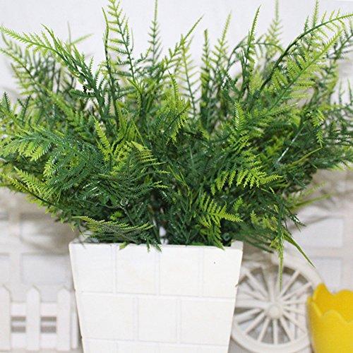 Bush-schlafzimmer-möbel (YHLVE Kunststoff Grün 7Stielen Künstliche Asparagus Bush Pflanzen Hellgrün grünen Green Plant Dekoration für Home Store)