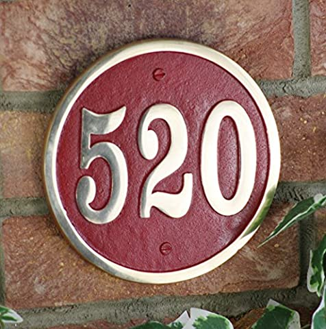 Custom house number circular address plaque in solid cast metal. Various colours available. Handmade in