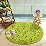 Teppich, CAMAL Runde Seide Wolle Material Yoga Teppich für Wohnzimmer Schlafzimmer und Bad (120cm, Gras Grün)