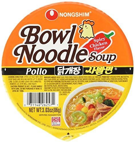 Nong Shim Instantnudeln Pollo Bowl Noodle Soup - Koreanische Ramen Nudelsuppe - schnelle Zubereitung - 12er Vorteilspack à 86g