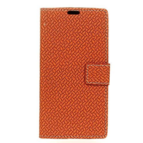 YHUISEN ZTE Axon 7 Case, Weave Pattern Magnetische Verschluss PU Leder Brieftasche Flip Folio Schutzhülle für ZTE Axon 7 ( Color : Purple ) Brown